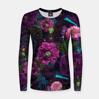 Miniatur Whimsical Watercolor night garden floral hand paint  Woman cotton sweater, Live Heroes
