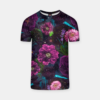 Miniatur Whimsical Watercolor night garden floral hand paint  T-shirt, Live Heroes