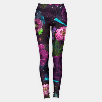 Miniatur Whimsical Watercolor night garden floral hand paint  Leggings, Live Heroes