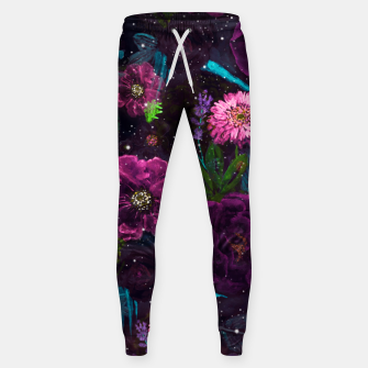 Miniatur Whimsical Watercolor night garden floral hand paint  Cotton sweatpants, Live Heroes