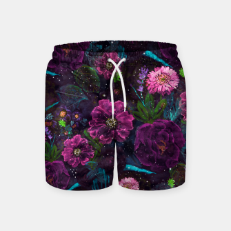 Miniatur Whimsical Watercolor night garden floral hand paint  Swim Shorts, Live Heroes