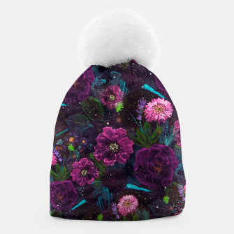 Miniatur Whimsical Watercolor night garden floral hand paint  Beanie, Live Heroes