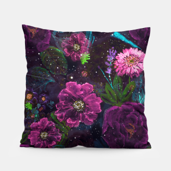 Miniatur Whimsical Watercolor night garden floral hand paint  Pillow, Live Heroes