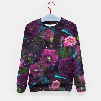 Miniatur Whimsical Watercolor night garden floral hand paint  Kid's sweater, Live Heroes