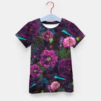 Miniatur Whimsical Watercolor night garden floral hand paint  Kid's t-shirt, Live Heroes