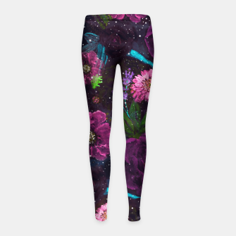 Miniatur Whimsical Watercolor night garden floral hand paint  Girl's leggings, Live Heroes