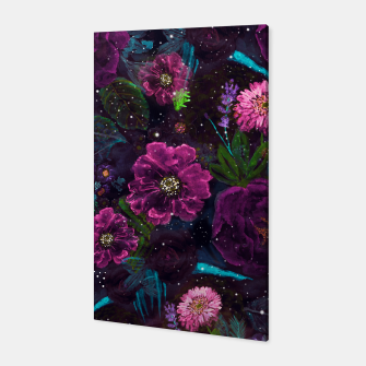 Miniatur Whimsical Watercolor night garden floral hand paint  Canvas, Live Heroes