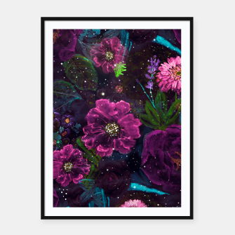 Miniatur Whimsical Watercolor night garden floral hand paint  Framed poster, Live Heroes