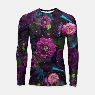 Miniatur Whimsical Watercolor night garden floral hand paint  Longsleeve rashguard , Live Heroes