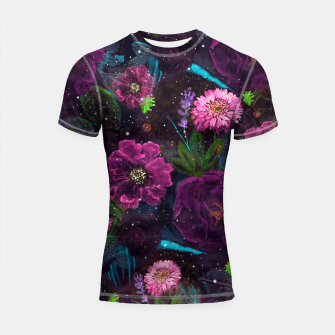 Miniatur Whimsical Watercolor night garden floral hand paint  Shortsleeve rashguard, Live Heroes