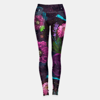 Thumbnail image of Whimsical Watercolor night garden floral hand paint  Leggings, Live Heroes
