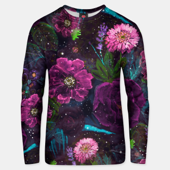 Thumbnail image of Whimsical Watercolor night garden floral hand paint  Cotton sweater, Live Heroes