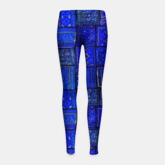 Thumbnail image of Lovely Calm Blue Traditional Moroccan Pattern Artwork   Girl's leggings, Live Heroes