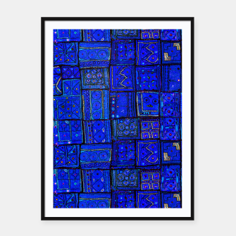 Thumbnail image of Lovely Calm Blue Traditional Moroccan Pattern Artwork   Framed poster, Live Heroes