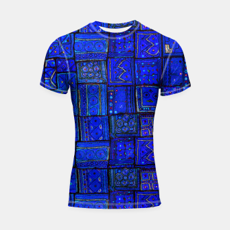 Thumbnail image of Lovely Calm Blue Traditional Moroccan Pattern Artwork   Shortsleeve rashguard, Live Heroes