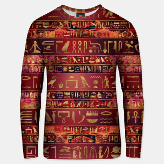 Miniaturka Egyptian hieroglyphs gold on red painted texture Cotton sweater, Live Heroes
