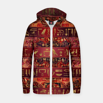 Miniaturka Egyptian hieroglyphs gold on red painted texture Cotton zip up hoodie, Live Heroes