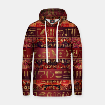 Miniaturka Egyptian hieroglyphs gold on red painted texture Cotton hoodie, Live Heroes