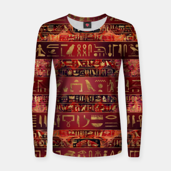 Miniaturka Egyptian hieroglyphs gold on red painted texture Woman cotton sweater, Live Heroes