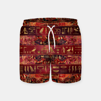 Miniaturka Egyptian hieroglyphs gold on red painted texture Swim Shorts, Live Heroes