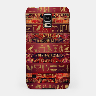 Miniaturka Egyptian hieroglyphs gold on red painted texture Samsung Case, Live Heroes