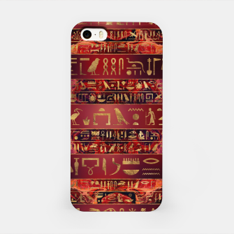 Miniaturka Egyptian hieroglyphs gold on red painted texture iPhone Case, Live Heroes