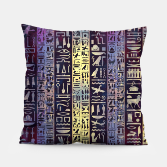 Thumbnail image of Egyptian hieroglyphs on purple violet painted texture Pillow, Live Heroes