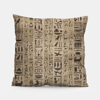 Thumbnail image of Egyptian hieroglyphs on wooden texture Pillow, Live Heroes