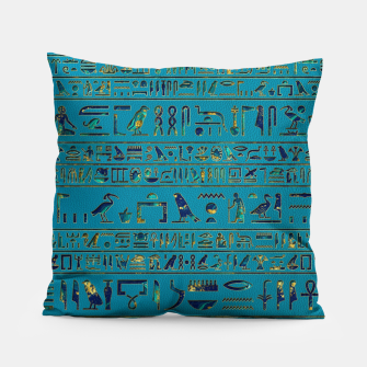 Thumbnail image of Egyptian hieroglyphs on teal leather texture Pillow, Live Heroes