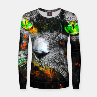 Thumbnail image of gxp persian cat great eyes evil look splatter watercolor Woman cotton sweater, Live Heroes