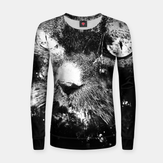 Thumbnail image of gxp persian cat great eyes evil look splatter watercolor black white Woman cotton sweater, Live Heroes