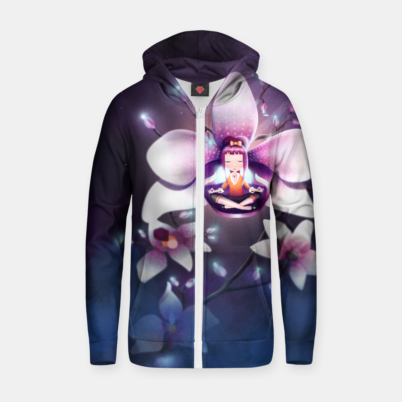 Image of Orchid Medtiation Cotton zip up hoodie - Live Heroes