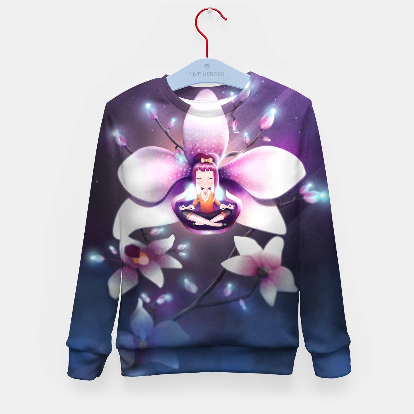 Image of Orchid Medtiation Kid's sweater - Live Heroes