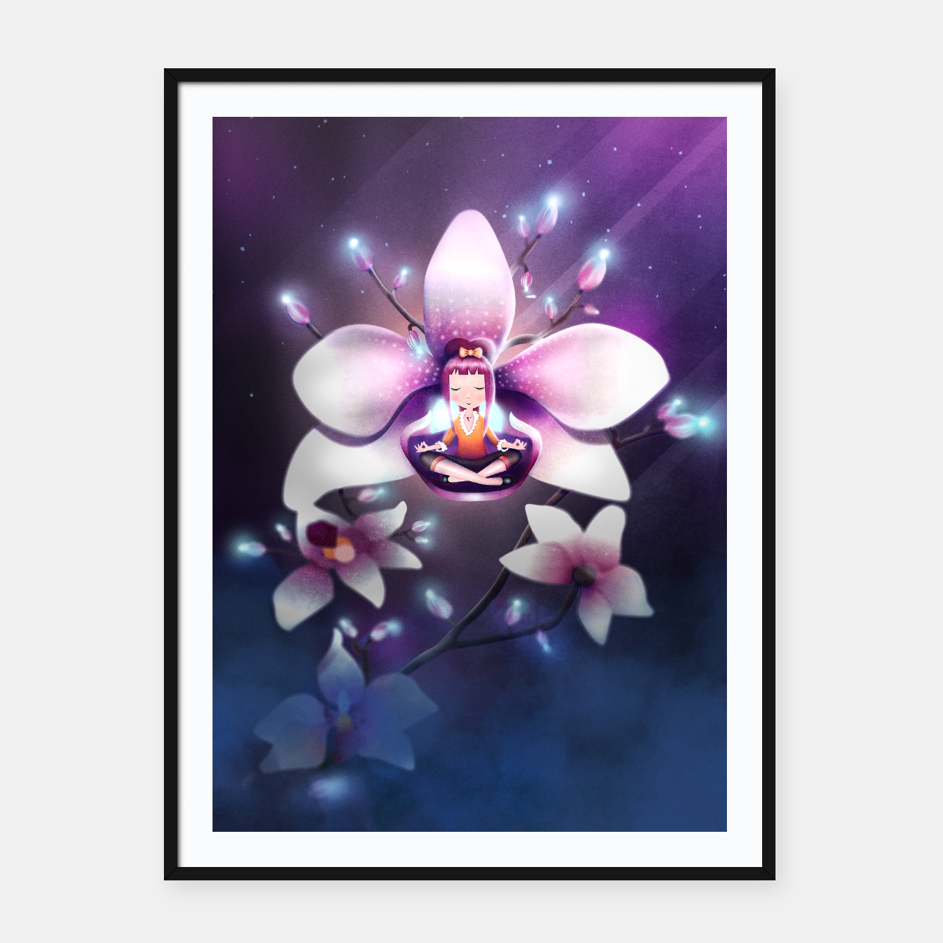 Image of Orchid Medtiation Framed poster - Live Heroes