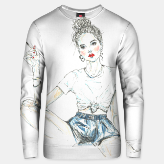 Miniatur Girl With A Cigarette __ Fashion Illustration Cotton sweater, Live Heroes