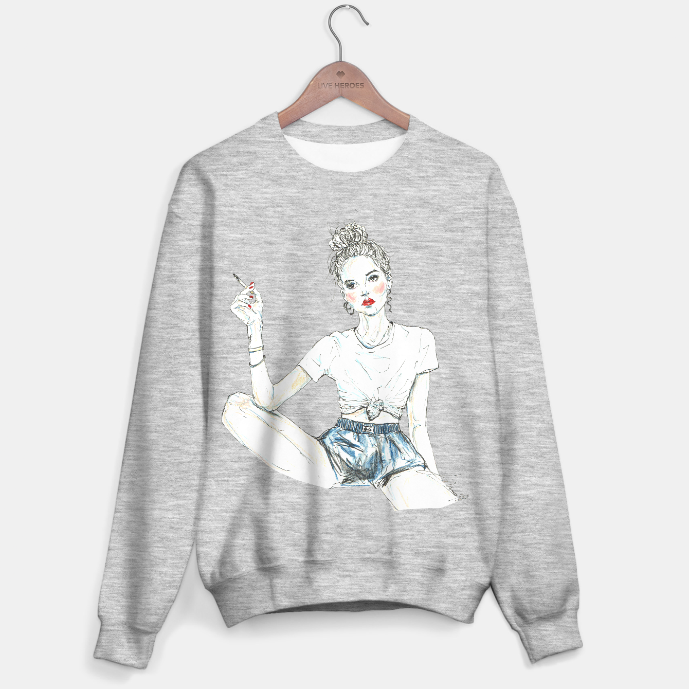 Zdjęcie Girl With A Cigarette __ Fashion Illustration Sweater regular - Live Heroes