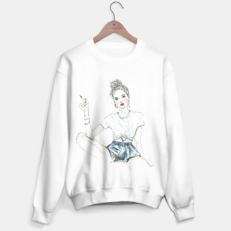 Miniatur Girl With A Cigarette __ Fashion Illustration Sweater regular, Live Heroes