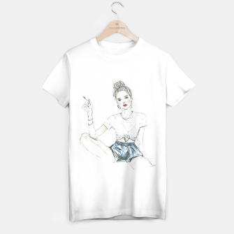Miniatur Girl With A Cigarette __ Fashion Illustration T-shirt regular, Live Heroes