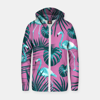 Tropical Flamingo Pattern #5 #tropical #decor #art Baumwoll reißverschluss kapuzenpullover thumbnail image