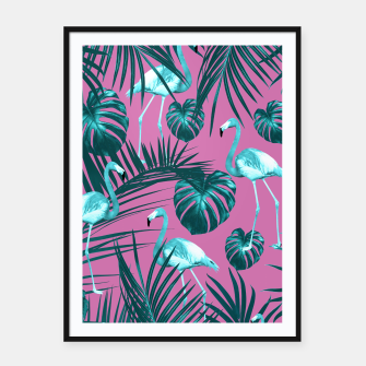 Tropical Flamingo Pattern #5 #tropical #decor #art Plakat mit rahmen thumbnail image