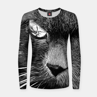Thumbnail image of gxp persian cat great eyes evil look vector art black white Woman cotton sweater, Live Heroes