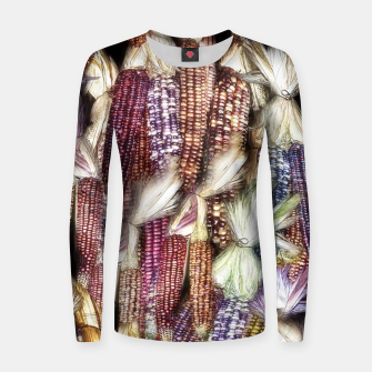 Thumbnail image of Fall Harvest Corn Woman cotton sweater, Live Heroes