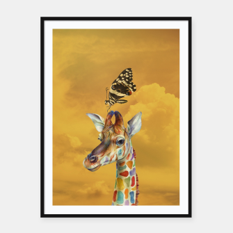 Thumbnail image of Giraffe and Butterfly Framed poster, Live Heroes