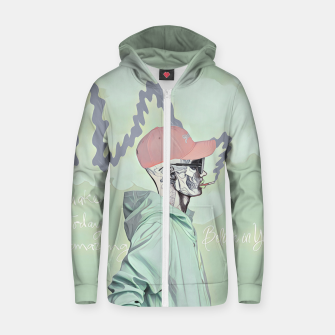 Thumbnail image of Chill and smoke  Cotton zip up hoodie, Live Heroes