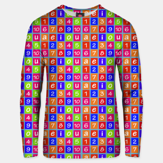 Miniaturka Numbers and Vowels Colorful Pattern Cotton sweater, Live Heroes