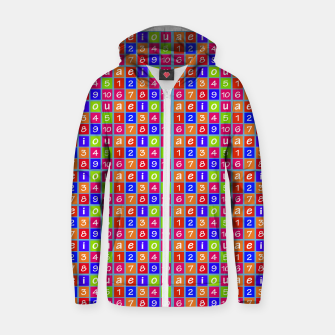 Miniaturka Numbers and Vowels Colorful Pattern Cotton zip up hoodie, Live Heroes