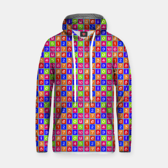 Miniaturka Numbers and Vowels Colorful Pattern Cotton hoodie, Live Heroes