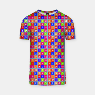 Miniaturka Numbers and Vowels Colorful Pattern T-shirt, Live Heroes