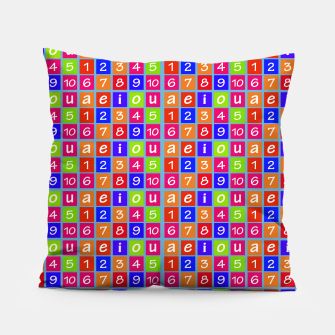 Miniaturka Numbers and Vowels Colorful Pattern Pillow, Live Heroes