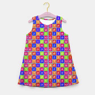 Miniaturka Numbers and Vowels Colorful Pattern Girl's summer dress, Live Heroes